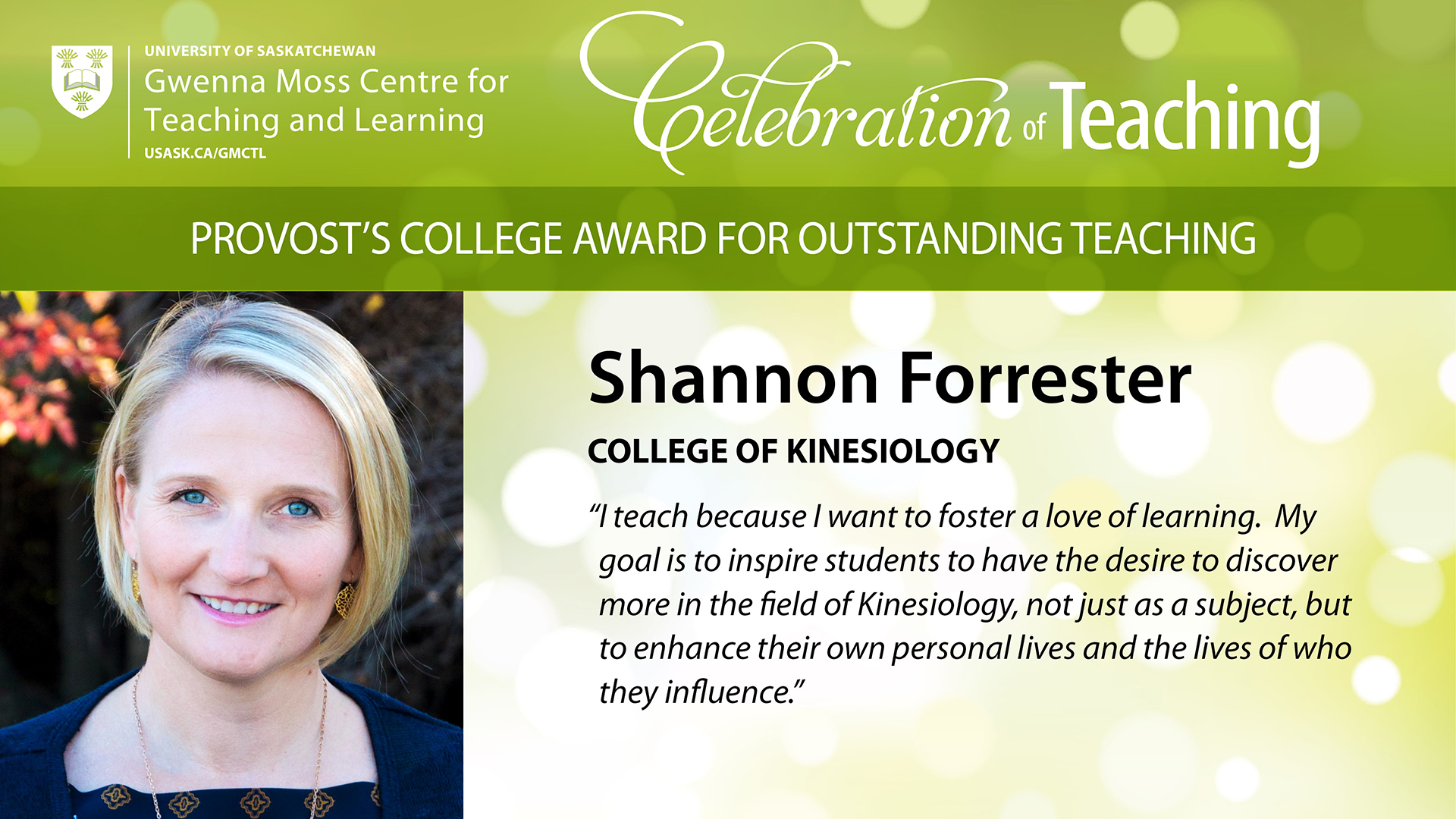 S Forrester - Provost's College Award for Outstanding Teaching, 2017